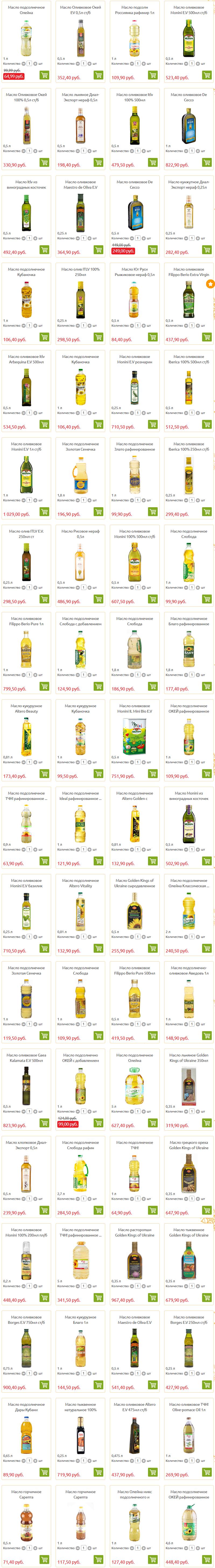 Оливковое, подсолнечное и другие виды масел